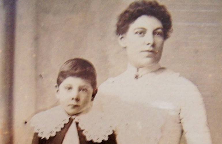 My dad's Grandma Bloor (né Johnson) inherited W.F. Johnson's from her father. She's seen here with her youngest son, Clifford, around 1900. (Many years later, Clifford would become my grandfather.)